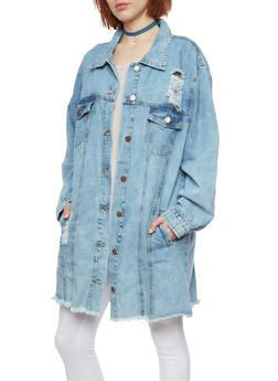 Long Distressed Denim Jacket - 1075072291010