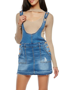 Frayed Denim Mini Overall Dress - 1076015990715
