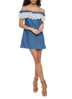 Off The Shoulder Chambray Dress with Crochet Trim - MEDIUM WASH - 1076051068807