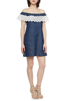 Off The Shoulder Chambray Dress with Crochet Trim - DARK WASH - 1076051068807