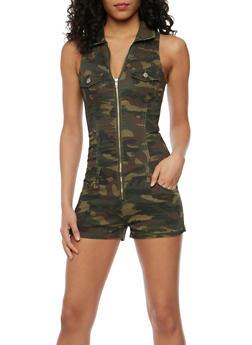 Sleeveless Camouflage Zip Front Romper - 1076065309666