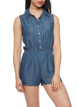 Highway Jeans Button Up Sleeveless Denim Romper - 1076071312481