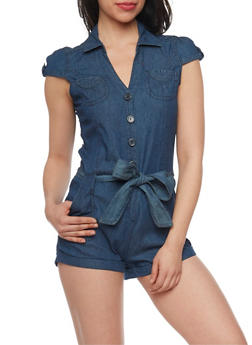 Highway Jeans Denim Cap Sleeve Belted Romper - 1076071316035