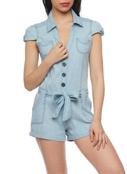 Highway Jeans Short Sleeve Chambray Romper with Sash Belt - 1076071316036