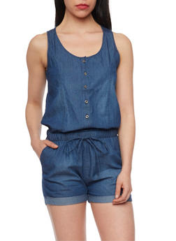 Denim Sleeveless Button Up Romper with Drawstring - DARK WASH - 1076071619004