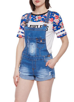 Distressed Denim Shortalls - 1076072293838