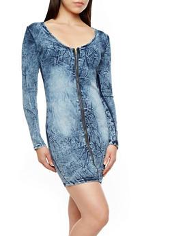 Long Sleeve Crinkled Denim Mini Dress with Zippered Front,MEDIUM WASH,medium