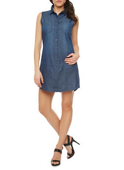 WAX Jeans Shirt Dress with Button Front - 1077071610035