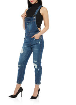 Almost Famous Distressed Overalls - 1078015990047