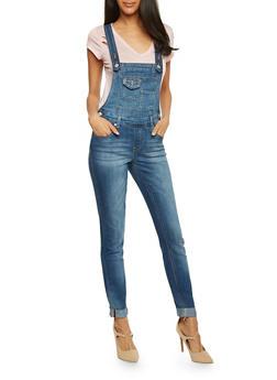 Skinny Rolled Cuffs Denim Suspender Overalls - 1078015991868