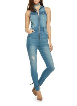 Almost Famous Denim Zip Front Sleeveless Jumpsuit - 1078015991877