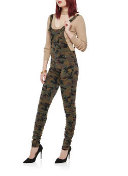 Ruched Leg Denim Overalls - CAMO - 1078056572487