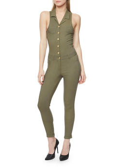 Sleeveless Button Front Jumpsuit - OLIVE - 1078056574016