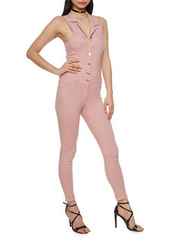 Sleeveless Button Front Jumpsuit - MISTY ROSE - 1078056574016