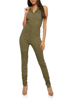 Ruched Leg Button Front Jumpsuit - 1078056579645