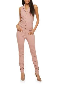 Ruched Leg Button Front Jumpsuit - 1078056579645