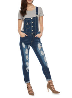 Destroyed Rolled Cuff Overalls - 1078063402708