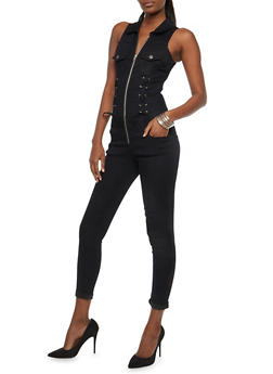 VIP Black Lace Up Zip Front Jumpsuit - 1078065302175