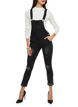 VIP Black Distressed Denim Overalls - 1078065305945