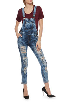 VIP Destroyed Acid Wash Denim Overalls - 1078065309494