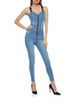 Highway Elastic Strap Zip Up Denim Jumpsuit - 1078071312758