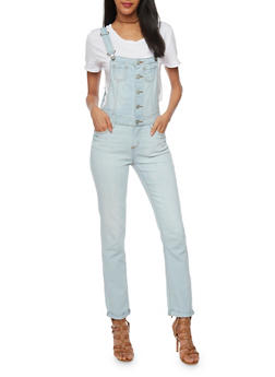 WAX Button Front Denim Overalls - 1078071619009