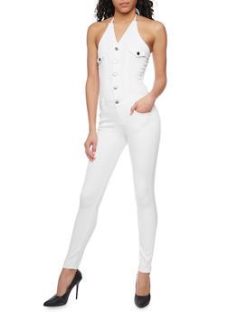 Denim Halter Neck Jumpsuit with Open Back - WHITE - 1078072291414