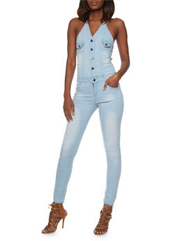 Denim Halter Neck Jumpsuit with Open Back - 1078072291414