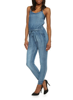 Denim Spaghetti Strap Zip Up Jumpsuit - MEDIUM WASH - 1078072293030