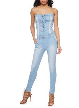 Strapless Denim Lace Up Jumpsuit - 1078072293939