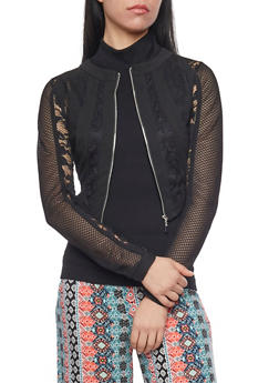 Mesh and Lace Zip Up Jacket - BLACK - 1086009425549