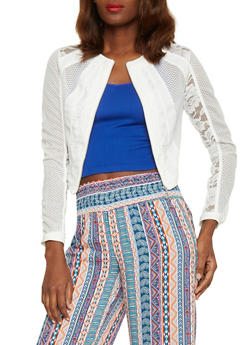 Mesh and Lace Zip Up Jacket - WHITE - 1086009425549