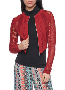 Mesh and Lace Zip Up Jacket - BURGUNDY - 1086009425549