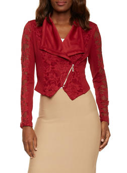 Asymmetrical Lace Long Sleeve Blazer - RED - 1086009425588