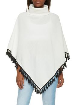Fleece Turtleneck Poncho with Tassel Hem - 1086038341488