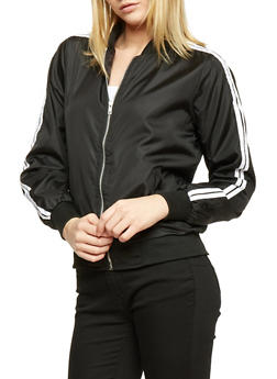 Double Varsity Striped Sleeve Bomber Jacket - BLACK/WHITE - 1086038348005