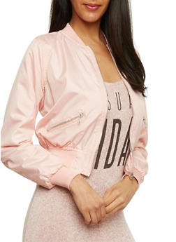 Cropped Bomber Jacket with Ribbed Knit Trim - BLUSH - 1086038348051
