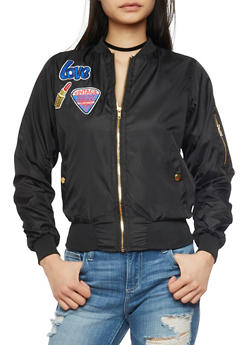 Bomber Jacket with Graphic Patches and Zip Pockets - BLACK - 1086038348052
