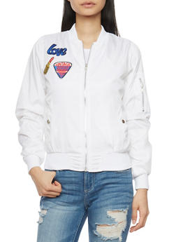 Bomber Jacket with Graphic Patches and Zip Pockets - 1086038348052