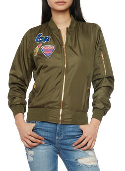 Bomber Jacket with Graphic Patches and Zip Pockets - OLIVE - 1086038348052