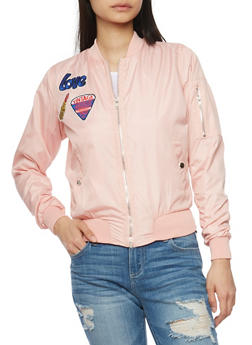 Bomber Jacket with Graphic Patches and Zip Pockets - BLUSH - 1086038348052