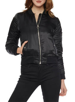 Satin Bomber Jacket with Rouched Sleeves - BLACK - 1086051060292