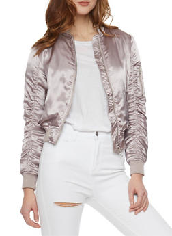 Satin Bomber Jacket with Rouched Sleeves - 1086051060292