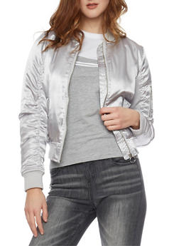 Satin Bomber Jacket with Rouched Sleeves - SILVER - 1086051060292