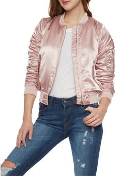 Satin Bomber Jacket with Rouched Sleeves - MAUVE - 1086051060292