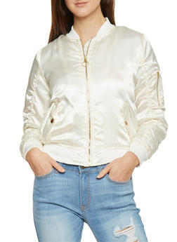 Ruched Satin Bomber Jacket With Sleeve Zip Pocket - IVORY - 1086051060910