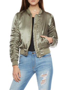 Ruched Satin Bomber Jacket With Sleeve Zip Pocket - 1086051060910
