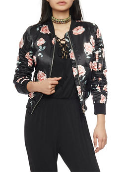 Floral Satin Bomber Jacket with Ruched Sleeves - 1086051060912