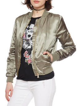 Satin Front Zip Bomber Jacket - 1086051061029