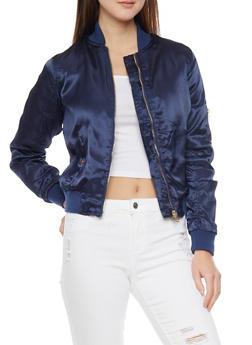 Satin Front Zip Bomber Jacket - NAVY - 1086051061029